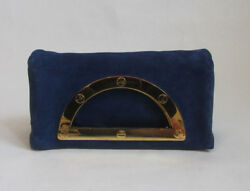AUTH TOM FORD GEORGEOUS! COBALT BLUE SUEDE LEATHER FOLD OVER CLUTCH HANDBAG