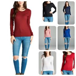 Women Thermal Long Sleeve Solid Waffle Knit T Shirt Top S 3xL reg amp; Plus $11.99