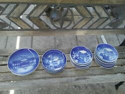 15 Blue And White B And G Christmas/winter Plates 3 Ejby Kirke Denmark Church Plates