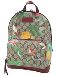 GUCCI 427042 Backpack Tian GG Supreme Beige Red Coating Canvas NOS Mint #10371