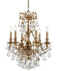 Crystorama 5146-AG-CL-SAQ Yorkshire Clear Spectra Crystal Chandelier Aged Brass