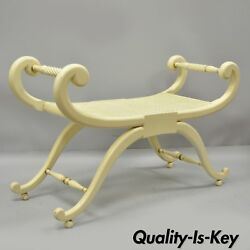 Vintage French Regency Neoclassical Style Cane Seat Curule X-frame Bench