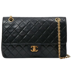 Vintage CHANEL Straight Flap Turn-lock Design Chain Bag Black