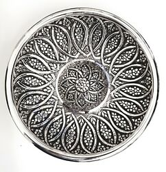 Hand-embossed Sterling Silver 925 Ottoman Style Repousse Inlay Bowl