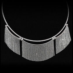 NECKLACE 14K White Gold Faceted Fringe Bib Statement Twisted Cable Chain 16''