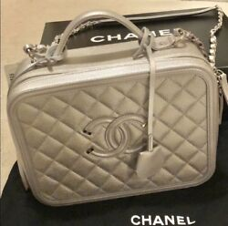 Authentic Brand New Chanel Silver Caviar Leather Large Vanity Case