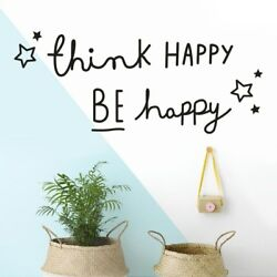 Think Happy Be Happy Quotes Wall Sticker Home Decor Living Room Bedroom Kids