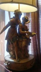 Antique Large Metal French Victorian Lady Statue Lamp Pair Shade Music And Poetry