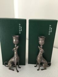 Pair Of Odiot France Sterling Silver Greyhound Candles Holders.