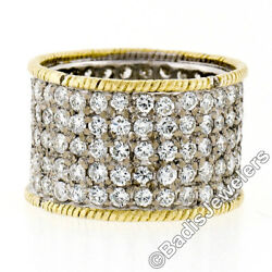 Vintage 18k Gold 3.6ctw Pave Round Diamond Wide Eternity Band Twisted Wire Edges