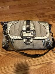 Guess silver bag logo canvas and leather $60.00