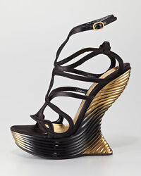 $4,630 New Alexander McQueen Oyster Shell Wedge Sandals Shoes 38 - 8