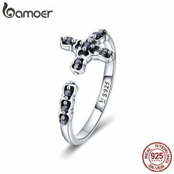 Bamoer Solid S925 Sterling Silver Finger Open Cross Ring With CZ Women Jewelry