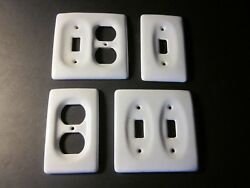 Lot of 4 Vintage Porcelain Wall Light Switch & Outlets Cover Plate - White