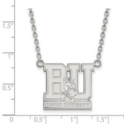 Boston University Terriers School Letters Logo Pendant Necklace in White Gold