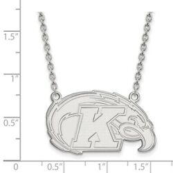 Kent State University Golden Flashes Mascot Pendant Necklace In 14k White Gold