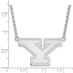 Youngstown State Penguins School Letter Logo Pendant Necklace In 14k White Gold
