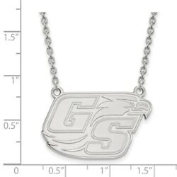Georgia Southern Eagles School Letters Logo Pendant Necklace In 14k White Gold