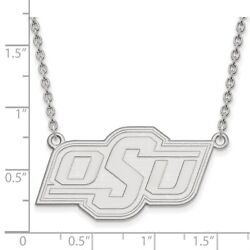 Oklahoma State Cowboys Osu School Letters Logo Pendant Necklace In White Gold