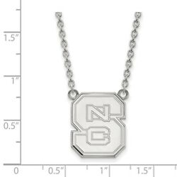 North Carolina State Wolfpack School Letters Pendant Necklace In 14k White Gold