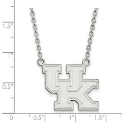 Kentucky Wildcats School Letters Logo Pendant Necklace In 14k And 10k White Gold