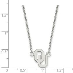 Oklahoma Sooners Ou School Letters Logo Pendant Necklace In 14k White Gold