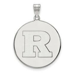 Rutgers Scarlet Knights School Letter Logo Disc Pendant In 14k And 10k White Gold