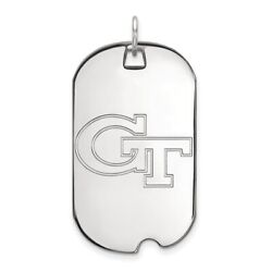Georgia Tech Yellow Jackets School Letters Logo Dog Tag Pendant In White Gold