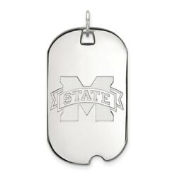 Mississippi State Bulldogs School Logo Dog Tag Pendant In 14k And 10k White Gold