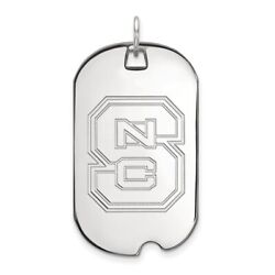 North Carolina State Wolfpack School Letters Dog Tag Pendant In 14k White Gold