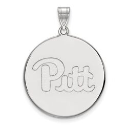 Pittsburgh Panthers Pitt School Letters Logo Disc Pendant 14k And 10k White Gold