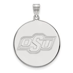 Oklahoma State Cowboys Osu School Letters Logo Disc Pendant In 14k White Gold