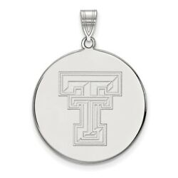 Texas Tech Red Raiders School Letters Logo Disc Pendant In 14k And 10k White Gold