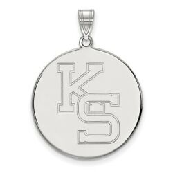 Kansas State Wildcats School Letters Logo Disc Pendant In 14k And 10k White Gold