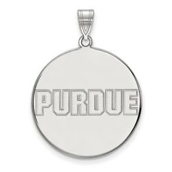 Purdue University Boilermakers School Name Disc Pendant In 14k And 10k White Gold