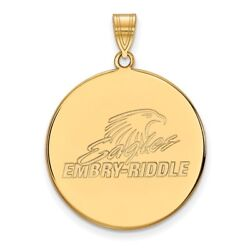 Embry-riddle University Eagles Mascot Logo Disc Pendant In 14k And 10k Yellow Gold