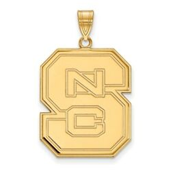 North Carolina State Wolfpack School Letters Logo Pendant 14k And 10k Yellow Gold