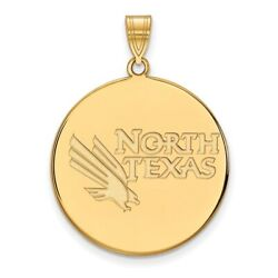 University Of North Texas Mean Green Mascot Logo Disc Pendant In 14k Yellow Gold