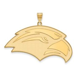 Southern Mississippi Golden Eagles School Mascot Head Pendant In 14k Yellow Gold