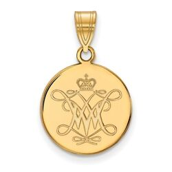 College Of William And Mary Tribe School Logo Disc Pendant 14k And 10k Yellow Gold