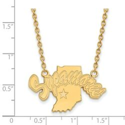 Indiana State University Sycamores Mascot Pendant Necklace In 14k Yellow Gold