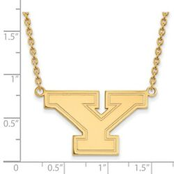 Youngstown State Penguins School Letter Logo Pendant Necklace In 14k Yellow Gold