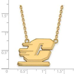 Central Michigan Chippewas School Letter Logo Pendant Necklace In Yellow Gold
