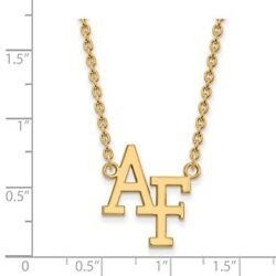 Us Air Force Academy Falcons School Letters Pendant Necklace In 14k Yellow Gold