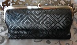 Hobo International~LAUREN Embossed Leather Double Frame Wallet~BLACK~NWT~$128