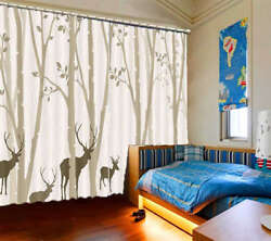 Confused Deer Mist 3d Curtains Blockout Photo Printing Curtains Drape Fabric