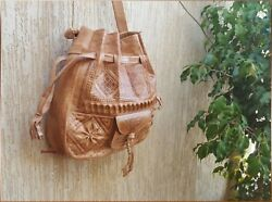 leather bag handmade bags Moroccan bucket bag boho leather shoulder unique bag