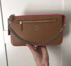 #savingglory Auth COACH Tan Bag Wristlet Clutch Silver Hardware Pink Dustbag