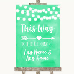 Wedding Sign Poster Print Mint Green Watercolour Lights This Way Arrow Right