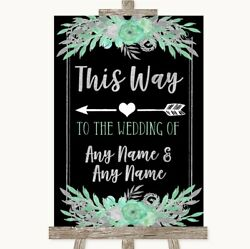 Wedding Sign Poster Print Black Mint Green And Silver This Way Arrow Left